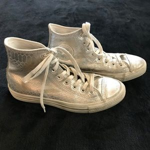 Converse All Star Silver Snake High Top Sneakers